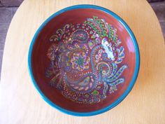 Funky Paisley Doodle Mixing Bowl by Jo at Fat Cat Pottery