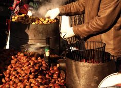 Roasting Chestnuts: These are being roasted along the street side in Seoul. A popular warming snack in the cold winters.