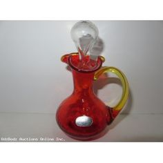 Vintage Hand Blown by Rainbow Art Glass Cruet Crackle Amberina with Clear Stopper & Yellow Handle Huntington W VA USA