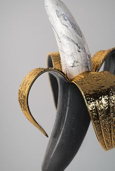 amalgammaray: Ben White - Sculpture - Print the sulpture yourself - amalgammaray: Ben White Photomontage, Banana Art, Gold Aesthetic, Black White Gold, 3d Artwork, Wow Art, Pics Art, Art Direction, Contemporary Art