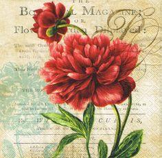 Decoupage Napkins 4 Pieces RED ROSE VINTAGE by LanternsByTamara