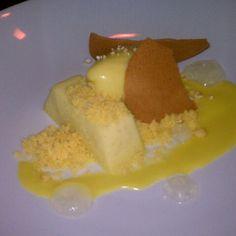 Sweet Corn Sorbet (polenta custard, caramel salt, lemon) from Uchiko in Austin, TX