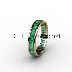 Channel Set Baguette Shape Green Emarald Eternity Ring with, 14K Yellow Gold or White or Rose. USD 409. (IND Rs. 27,000/-)