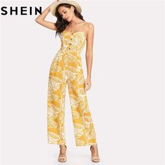 894c09a413 SHEIN Summer Vacation 2018 Spaghetti Strap Boho High Waist Tropical Palm  Leaf Print Shirred Wide Leg