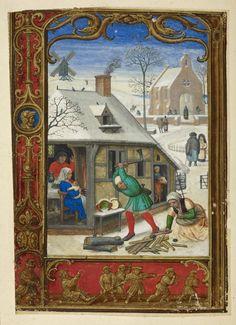 Calendário da página para janeiro, (Livro de Horas, Uso de Roma), oficina de Simão Bening, Países Baixos (Bruges), c. 1540, MS adicionais 24.098, f. 18v