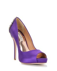 Kiara Embellished Peep-Toe Pump Evening Shoe by Badgley Mischka.  Lovely colour