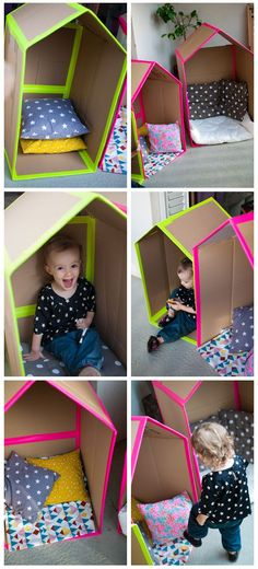 Child activity: 20 simple activities for your children with cardboard . Kids Crafts, Diy And Crafts, Infant Activities, Preschool Activities, Montessori Baby, Toddler Fun, Baby Play, Diy Toys, Kids And Parenting