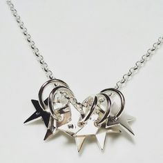 Bright Star Necklace can be personalised. Available at www.cloversoul.co.uk Bright Stars, Star Necklace, Handmade Silver, Jewelry Design, Glitter Stars, Handmade Sterling Silver