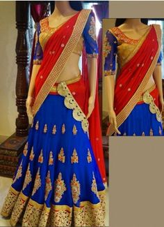 Blue And Red Georgette Embroidery Work Designer Lehenga  #Georgette #Embroidery Work #Designer #Lehenga