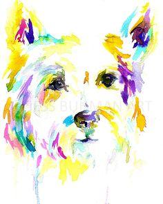 """Print of Watercolor Painting """"Wesley the Westie"""" 8 x 10 Print of Watercolor Painting Pink Fuschia Yellow Westie Dog Custom"""