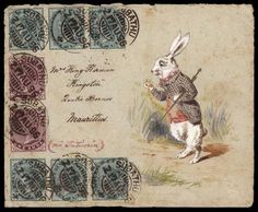 """(Alice in Wonderland) Oh My Ears and Whiskers, I'm Late! Depicting rabbit checking his pocketwatch, bearing six India -1/2a and two 1a stamps tied by """"Subathu 17 AU, 1896"""" circular datestamps to Mauritius, artwork based on Lewis Carroll's Alice in Wonderland"""
