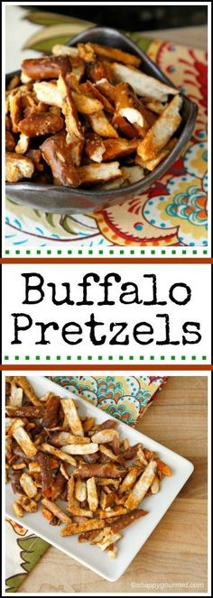 Buffalo Pretzels recipe - easy appetizer that is fun for tailgating or a easy Super Bowl snack! A seasoned pretzel similar to Chex Mix. snappygourmet.com