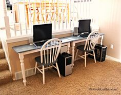 Table cut in half and mounted to wall as personal desk stations... totally awesome!