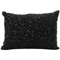 Mina Victory Luminescence Fully Beaded Black Throw Pillow ($32) ❤ liked on Polyvore featuring home, home decor, throw pillows, black, embroidered throw pillows, black toss pillows, oblong throw pillows, nourison and handmade home decor