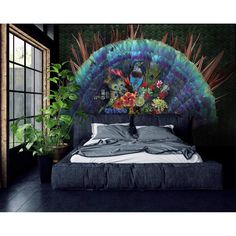 A beautifully dark yet bold wall mural featuring a peacock and jewel toned colours. Each wall mural is designed and scaled to your wall measurements so it works perfectly with your interior. Peacock Wallpaper, Wall Wallpaper, Flax Flowers, Large Wall Murals, Wallpaper Please, Animal Room, Peacock Design, Beautiful Wall, Wall Design