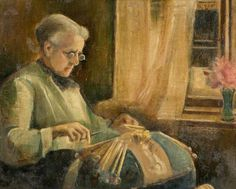 The Lacemaker (Mrs Newell Making Lace) 1920 by Charles Spencelayh(attributed to)