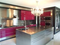 A beautiful pink kitchen (probably wouldn't look good in an actual normal house, but it would look awesome in a fantasy house!)
