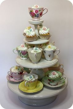 cupcakes in teacups for teaparty, vintage tea party bridal shower reception tabletop decor; dessert table cake stand; Upcycle, Recycle, Salvage, diy, thrift, flea, repurpose! For vintage ideas and goods shop at Estate ReSale & ReDesign, Bonita Springs, FL