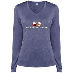 Ladies LS Heather Dri-Fit V-Neck Graphic Tee - Time to w... down