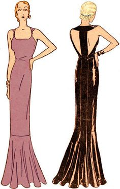 #T5902 - 1930s Evening Gown with Center Back Band Sewing Pattern - Glamour