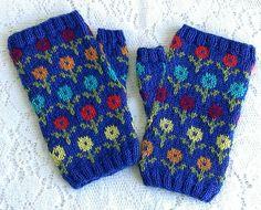 stitcherywitchery: Karen Porter's free pattern for the knit Margot's Garden Fingerless Mittens. Perfect for early spring gardening.