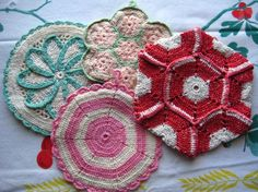 Vintage crocheted hot pads/pot holders.