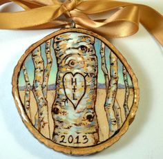 couples ornament, wedding ornament, anniversary ornament, his and hers, first christmas, hand painted on wood slice on Etsy, $40.00