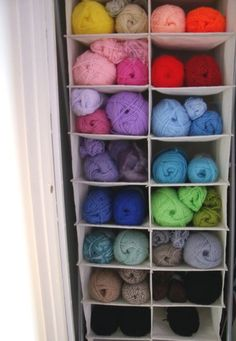 this is how i store yarn now...maybe we can hang some of these in the barns for yarn storage...F..THE SHOES  DON'T BUY THEM ANYMORE-I ONLY BUY YARN