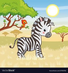 Buy Zebra is Standing in the Savannah by svaga on GraphicRiver. Zebra is standing in the savannah. Vector illustration with animal on the theme of Africa. Cute zebra in cartoon style. Easy Disney Drawings, Art Drawings For Kids, Drawing For Kids, Cartoon Drawings, Animal Drawings, Easy Drawings, Art For Kids, Zebra Cartoon, Cartoon Dolphin