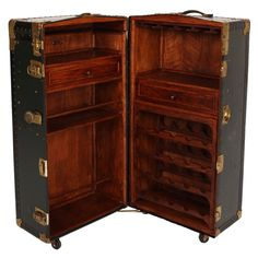 Vintage Steamer Trunk Bar Cabinet - Fatto a Mano Antiques - 2