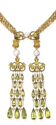 Lalique 1895 signed Lavaliere Necklace: peridot/pearl/diamond/ 18k gold | christies.com