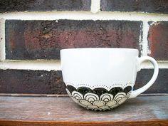 Clamshells - Scalloped Hand Painted Ceramic Mug