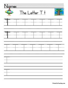 UsingLetter T Handwriting Practice Worksheet, students trace and then write the letter T in order build their Zaner-Bloser style print handwriting skills.