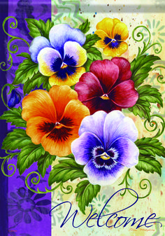 Pansy Welcome Flag ca47220