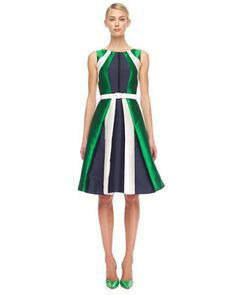 Colorblock & stripes done right! Shantung Dress by Michael Kors at @Bergdorfs #fashion #style