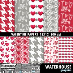 #digitalpaper #digitalscrapbooking #scrapbookpaper #valentinesdaypaperpack #digitalvalentinepapers #digitalheartpaper #projectlife #waterhousegraphics #instantdownload #lovepaper #digitallove