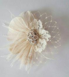 Small Bridal Fascinator Mini Feather Hair Clip by Ivory Fascinator, Bridal Fascinator, Feather Headpiece, Wedding Fascinators, Feather Hair Clips, Bridal Headpieces, Bridal Hair, Pearl Bridal, Headpiece Wedding
