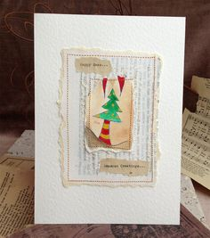 Xmas Card Tree Blank Art Handmade Designer Intaglio by SheIsAllArt, £5.00