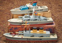 The Lifelong Collection of Berta Leon Hackney: 271.1 Three American Wooden Toy Ships by Keystone