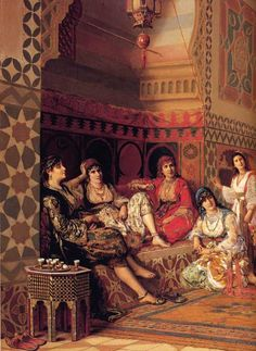 Harem section at the Sultan's Palace in Istanbul Istanbul turkey painting drawing Portrait Photos, Portraits, Jean Leon, Empire Ottoman, Academic Art, Arabian Nights, Renoir, North Africa, Islamic Art