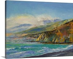 Contemporary oil paint landscape of sea cliffs and waves washing against the shore.