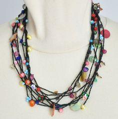 CROCHET BEADS - Multi-Strand Crochet Beads Lariat/Bracelet
