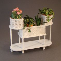 Philomena's Plant Stand - $75.00 : Miniature Wicker Furniture by The Petticoat Porch, Handcrafted artisan dollhouse miniature wicker furniture