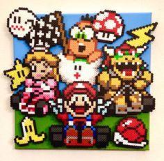 Super Mario Kart perler bead scene By Kyle McCoy Mario Kart, Mario Bros, Perler Beads, Perler Bead Mario, Super Mario, Retro Video, Video Game Crafts, Modele Pixel Art, Art Perle