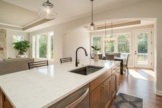 Quartz counters, stained cabinets Oakland Hills, Staining Cabinets, Quartz Counter, New Homes For Sale, Condominium, How To Take Photos, Kitchen Island, Interior, Home Decor