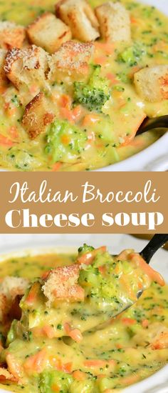 Classic Broccoli Cheese Soup made with Italian flavors. Mozzarella cheese, Italian cheese mix, and grated Parmesan cheese to give it that Italian twist.