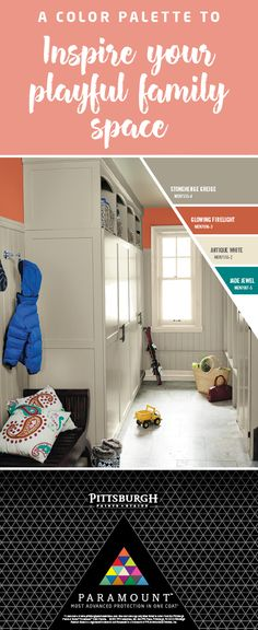Kid-Friendly Mudroom |Create a functional mudroom with an accent paint color like look-at-me orange paired with a neutral. Every home needs spaces where you and your family can let loose – and kick off their shoes.   Bring this look to life in your home with Pittsburgh Paints & Stains Paramount™ Paint.