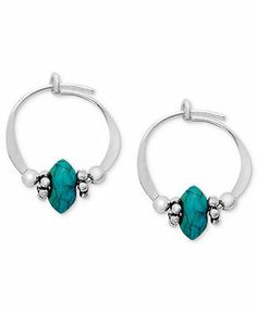 Jody Coyote Sterling Silver Earrings, Small Simulated Turquoise Bead Hoop Earrings - Earrings - Jewelry & Watches - Macy's
