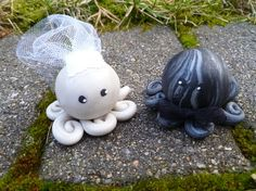 Octopus Wedding Couple Cake Topper Mini Marble Friends Set of Two in Icy Pearl and Black and Silver Swirl Bride and Groom. $20.00, via Etsy.