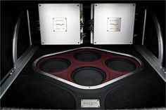 Mobile Solutions - #BecauseSS USA - HOME car audio custom trunk install amps subs red grey black billet aluminum